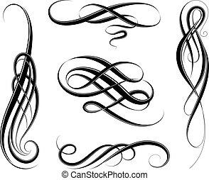 swirls, calligraphic