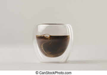 Swirls of milk in Double Walled Glass with coffee on white background