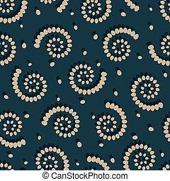 Swirls on green background seamless pattern