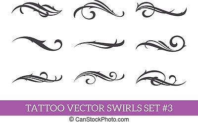 swirls, set, calligraphic