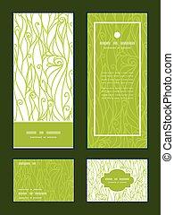 swirls, set, danken, verticaal, model, groet, textuur, vector, frame, uitnodigingskaarten, u, abstract, rsvp