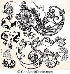 swirls.eps, vetorial, flourishes, cobrança, calligraphic