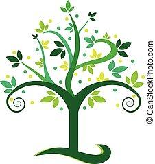 swirly, árvore verde, logotipo