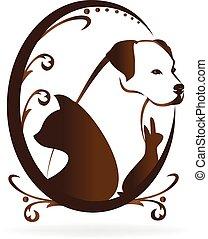 swirly, марочный, рамка, собака, кот, вектор, кролик, логотип, птица