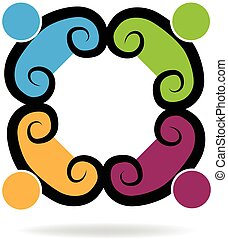 swirly, ロゴ, チームワーク, ビジネス 人々