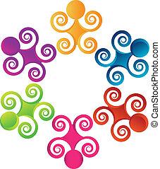 swirly, ロゴ, チームワーク, 人々