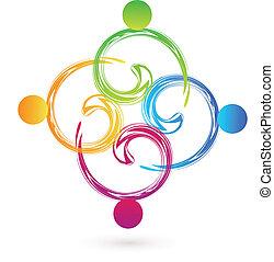 swirly, ロゴ, ベクトル, チームワーク, swoosh