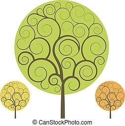 swirly, 木, 隔離された, バックグラウンド。, 形, ベクトル, 白