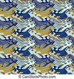 swirly, abstract, pattern., seamless, retro, versieringen, geometrisch, rows.
