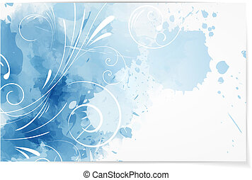Swirly abstract watercolor background - Business card...