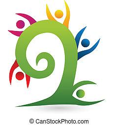 swirly, albero, lavoro squadra, logotipo