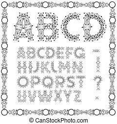 swirly, alfabeto, calligraphic
