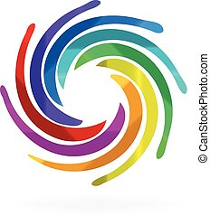 swirly, arc-en-ciel, vagues, logo
