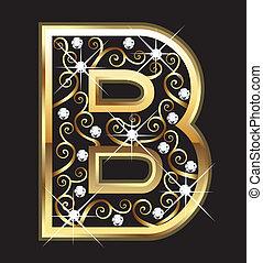 swirly, b, ornamentos, ouro, letra