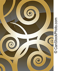 swirly background - business card design with helical floral...
