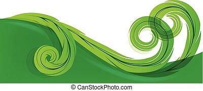 swirly, blad, achtergrond, mal