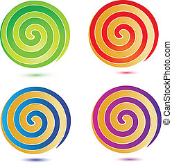 swirly, bottoni, set, logotipo