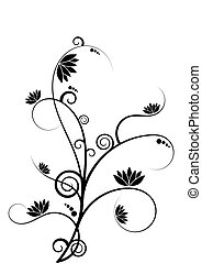Swirly branch - Illustration of swirly branch with lotus...