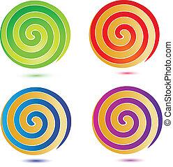 Swirly buttons set logo