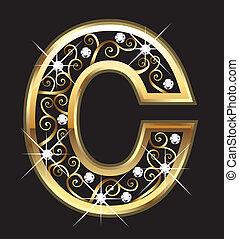 swirly, c, ornamenti, oro, lettera