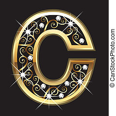 swirly, c, ornamentos, oro, carta