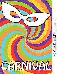 Swirly colorful carnival background in vivid cheerful colors with white carnival mask.