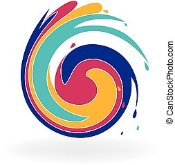Swirly colorful waves icon logo