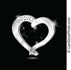 swirly, corazón, diseño, joyas, logotipo