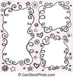 swirly, doodle, sketchy, vetorial, bordas