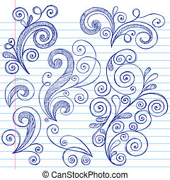 swirly, doodles, sketchy, ベクトル, セット