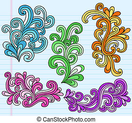 swirly, doodles, vector, psychedelic