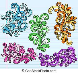 swirly, doodles, vektor, psychedelisch