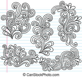 swirly, doodles, vettore, set