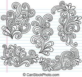swirly, doodles, wektor, komplet
