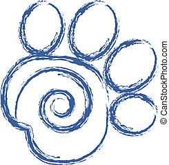 swirly, druck, vektor, pfote, logo