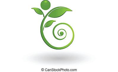 swirly, eco, det leafs, figur, logo