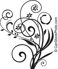 swirly, floral, vector, diseño