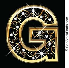 swirly, g, letra, ouro, ornamentos