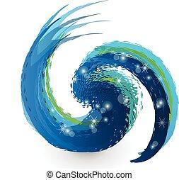 swirly, grunge, schizzo, onda, logotipo