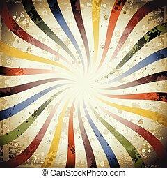 Swirly Grunge Sunburst - Psychedelic swirly grunge sunburst,...