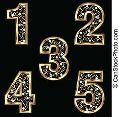 swirly, guld, numrerar, agremanger