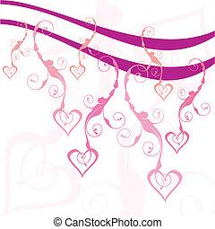 swirly hearts vector illustration