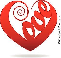 swirly, hjärta, kärlek, ord