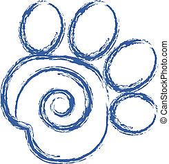 swirly, impresión, vector, pata, logotipo