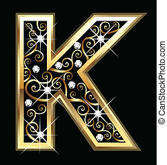 swirly, k, ornamenti, oro, lettera