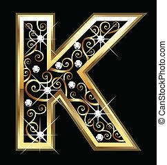 swirly, k, ornamentos, ouro, letra
