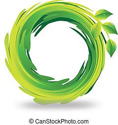 swirly, leafs, ロゴ