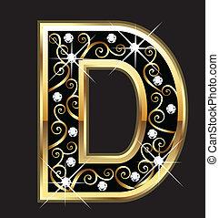 swirly, letra, ouro, ornamentos, d