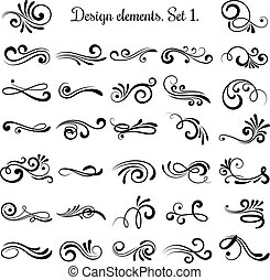 Swirly line curl patterns isolated on white background. Vector flourish vintage embellishments for greeting cards