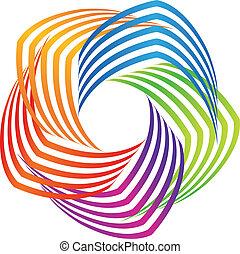 swirly, logo, abstract, kleurrijke, pictogram